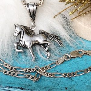 "Navajo Sterling Gaited Horse Pendant 18""Necklace"
